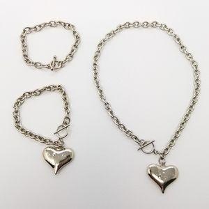 Punky Heart on a Chain Necklace & Bracelets